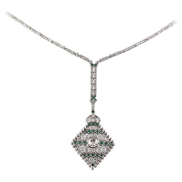 Art Deco Emerald Diamond Platinum Necklace For Sale