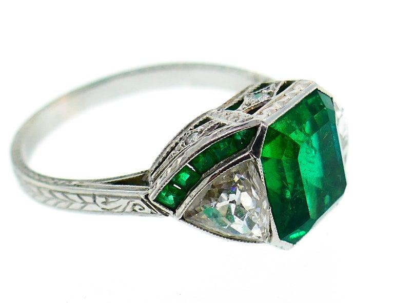 Art Deco Emerald Diamond Platinum Ring For Sale 5