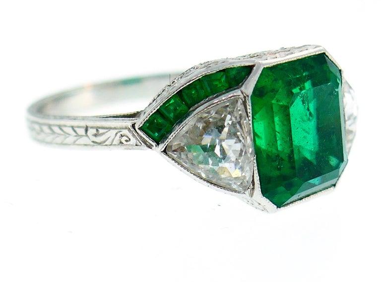 Emerald Cut Art Deco Emerald Diamond Platinum Ring For Sale