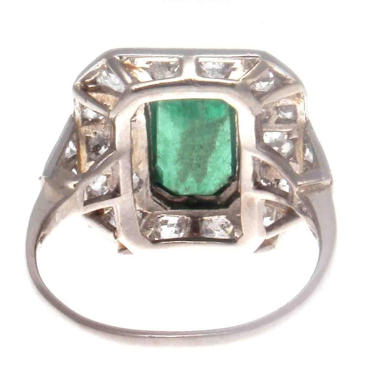 Women's Art Deco Emerald Diamond Platinum Ring For Sale