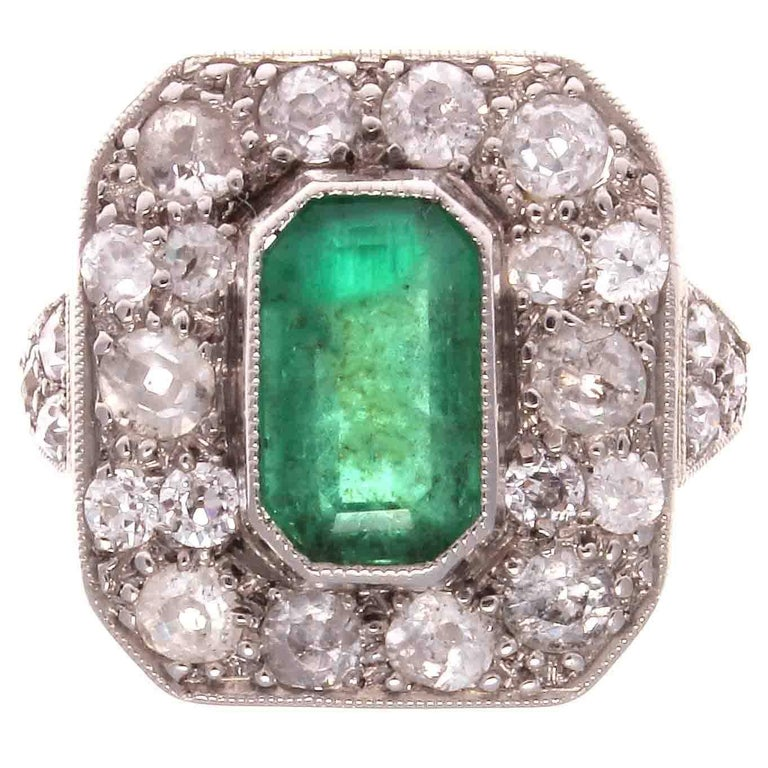 Art Deco Emerald Diamond Platinum Ring For Sale