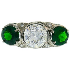 Art Deco Emerald Diamond Platinum Three-Stone Ring