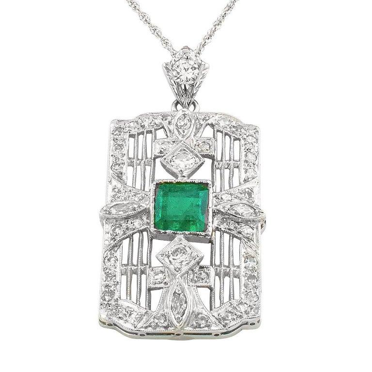 Art Deco Emerald Diamond Platinum White Gold Pendant Necklace In Good Condition For Sale In Los Angeles, CA