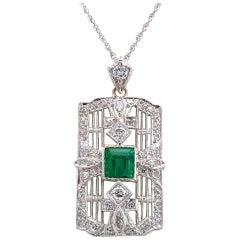 Art Deco Emerald Diamond Platinum White Gold Pendant Necklace