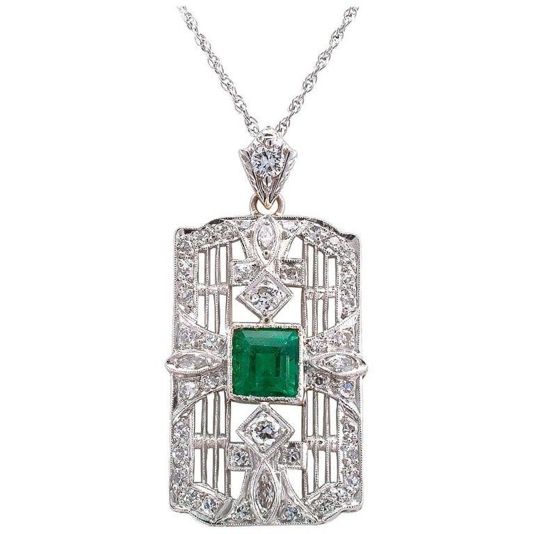 Art Deco Emerald Diamond Platinum White Gold Pendant Necklace For Sale