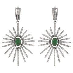 Art Deco Style Emerald & Diamond Starburst Earrings
