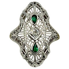 Art Deco Emerald Diamond Wedding Engagement Ring 14 Karat White Gold Edwardian