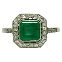 Art Deco Style Emerald Engagement Ring Diamond Halo Vintage Platinum Colombian