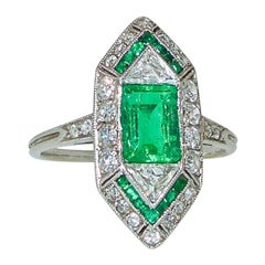 Art Deco Emerald Fancy Cut Diamond Platinum Cluster Ring