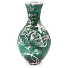 Art Deco Emerald Glass Vase w/ Sterling Silver Stylized Foliate Overlay