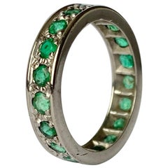 Art Deco Emerald Platinum Full Eternity Band