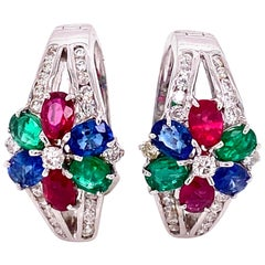 Art Deco Emerald, Ruby, Blue Sapphire, and White Diamond Earrings