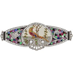 Art Deco Emerald, Ruby, Sapphire and Diamond Brooch
