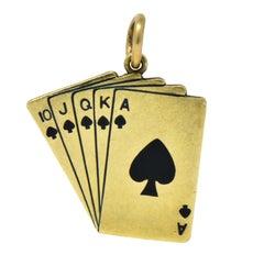 Art Deco Enamel 14 Karat Gold Playing Cards Charm in Spades