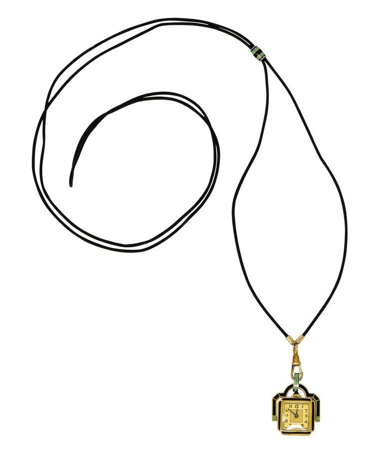 Art Deco Enamel 18 Karat Gold Antique Watch Lariat Necklace For Sale 5