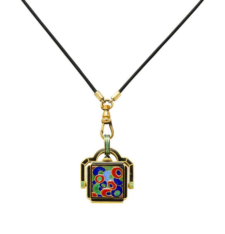 Contemporary Art Deco Enamel 18 Karat Gold Antique Watch Lariat Necklace For Sale