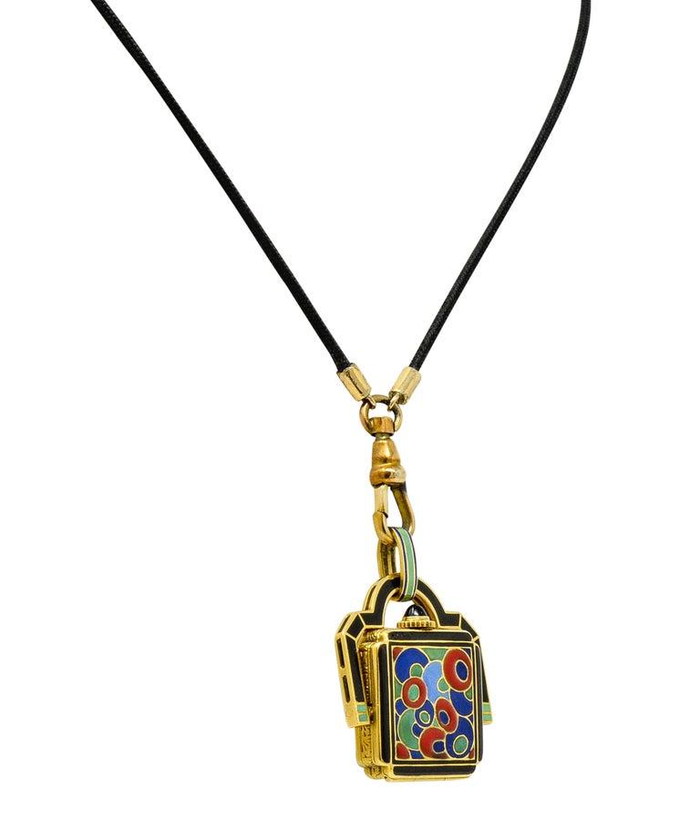Women's or Men's Art Deco Enamel 18 Karat Gold Antique Watch Lariat Necklace For Sale