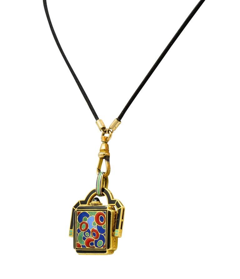 Art Deco Enamel 18 Karat Gold Antique Watch Lariat Necklace For Sale 1