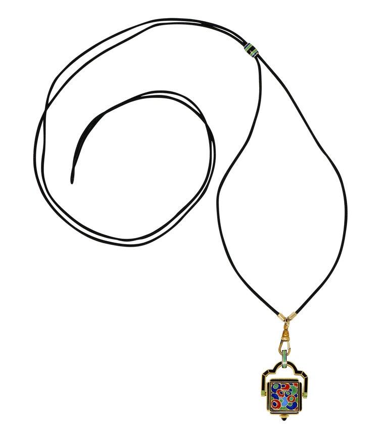 Art Deco Enamel 18 Karat Gold Antique Watch Lariat Necklace For Sale 4
