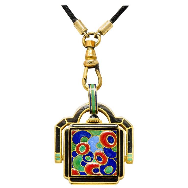 Art Deco Enamel 18 Karat Gold Antique Watch Lariat Necklace For Sale