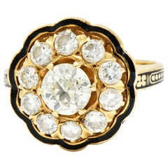 Art Deco Enamel 2.20 Carats Diamond 14 Karat Gold Cluster Ring