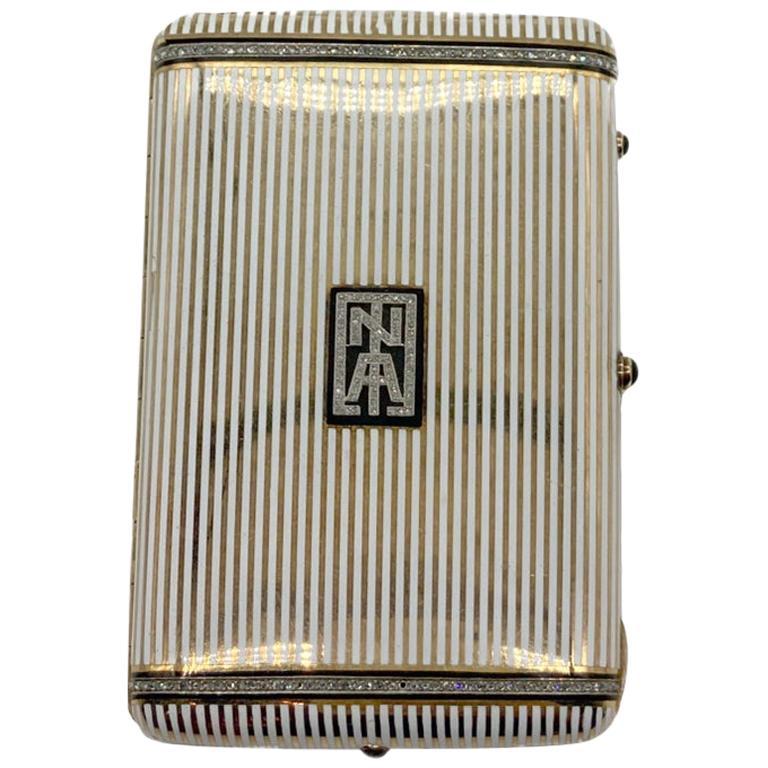 Art Deco Enamel and Diamond Cigarette Case