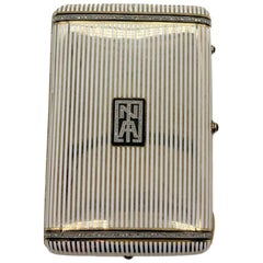 Art Deco Enamel and Diamond Cigarette Case