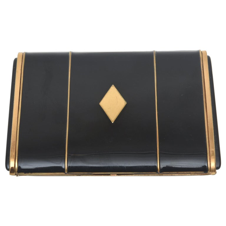 Art Deco Enamel and Metal Card Case For Sale