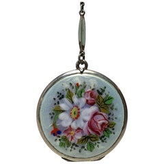 Art Deco Enamel and Sterling Flower Locket on Original Enamel Chain Necklace