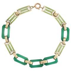 Art Deco Enamel Bracelet Chrysoprase 14 Karat Gold Green Square Links Jewelry