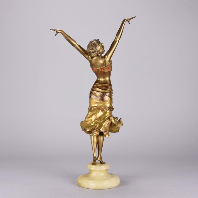 Polish Art Deco Enamel and Cold Painted Bronze Figure 'Radha' by Paul Philippe For Sale