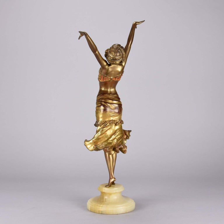 Cast Art Deco Enamel and Cold Painted Bronze Figure 'Radha' by Paul Philippe For Sale