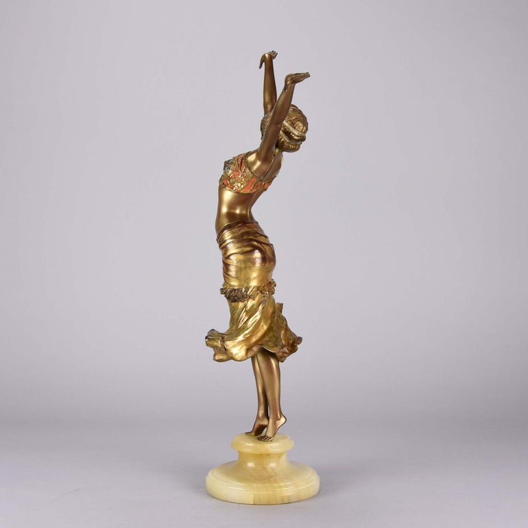 Art Deco Enamel and Cold Painted Bronze Figure 'Radha' by Paul Philippe In Excellent Condition For Sale In London, GB