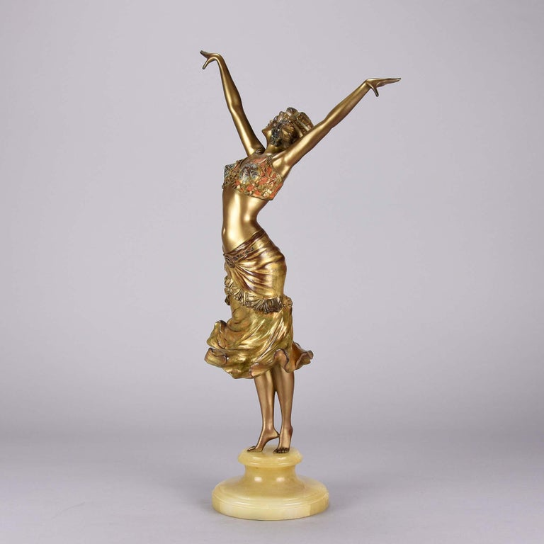 Early 20th Century Art Deco Enamel and Cold Painted Bronze Figure 'Radha' by Paul Philippe For Sale