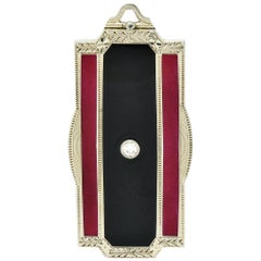 Art Deco Enamel Diamond 18 Karat White Gold Locket Pendant