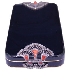 Art Deco Enamel, Diamond and Coral Power Compact