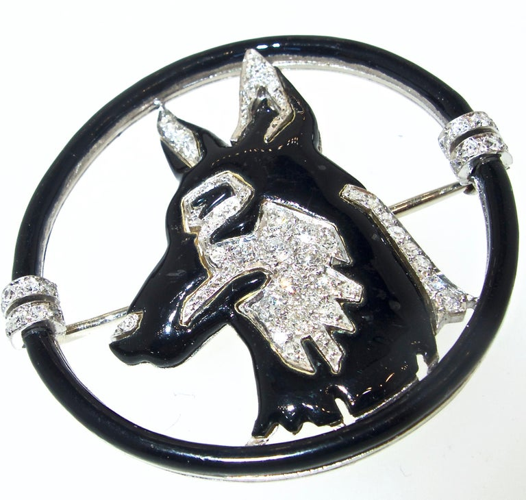 Art Deco Enamel, Diamond and Platinum Dog Brooch by Black, Starr & Frost, c 1925 In Excellent Condition For Sale In Aspen, CO