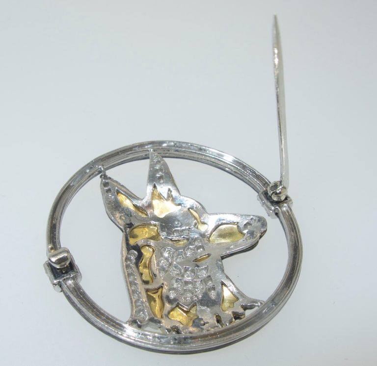 Women's Art Deco Enamel, Diamond and Platinum Dog Brooch by Black, Starr & Frost, c 1925 For Sale