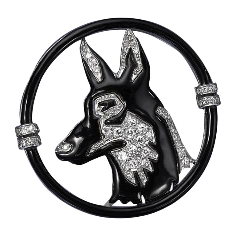 Art Deco Enamel, Diamond and Platinum Dog Brooch by Black, Starr & Frost, c 1925 For Sale