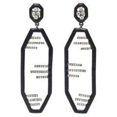 Art Deco Enamel, Diamond and Sterling Silver Dangle Earrings