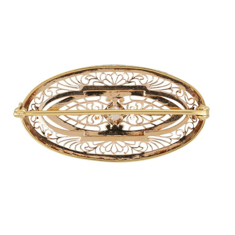 Art Deco Enamel Diamond Yellow Gold Filigree Brooch In Good Condition For Sale In Los Angeles, CA