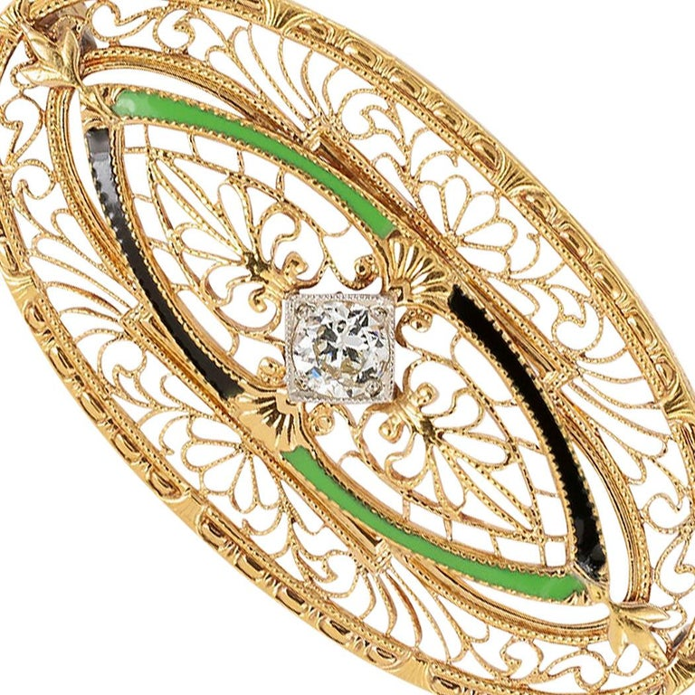 Women's Art Deco Enamel Diamond Yellow Gold Filigree Brooch For Sale