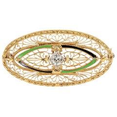 Art Deco Enamel Diamond Yellow Gold Filigree Brooch