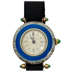 Art Deco Enamel, Emerald, and Diamond Watch