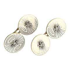 Art Deco Diamond and Enamel Gold Cufflinks
