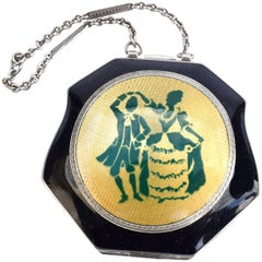 Art Deco & Enamel Guilloche Ladies Powder Compact, c1930