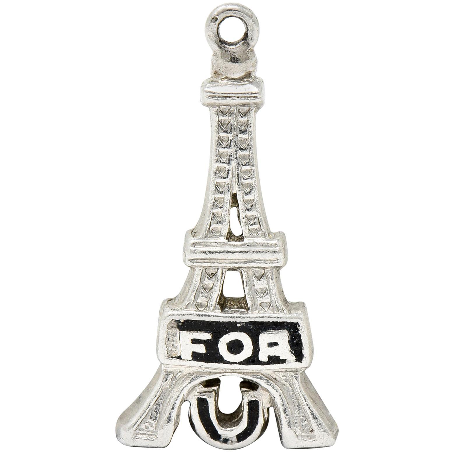 Art Deco Enamel Platinum I Fell For You Eiffel Tower Charm