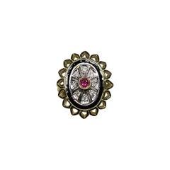 Art Deco Enamel Ruby White Diamond 18 Karat Yellow Gold White Gold Ring
