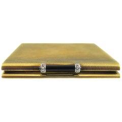 Art Deco Enamel Sapphire Diamond Gold Compact
