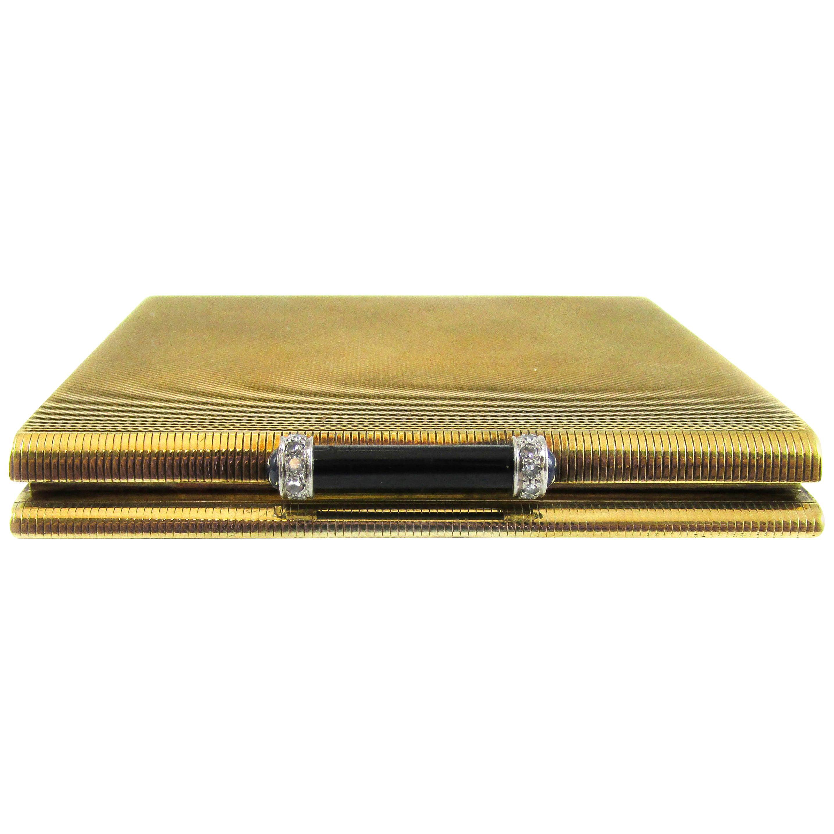 Art Deco Enamel Sapphire Diamond Gold Pill or Card Box